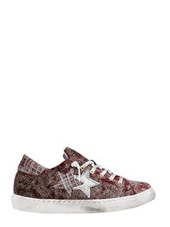 Two Star-bordeaux glitter low sneakers