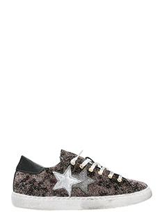 Two Star-bronze glitter low sneakers