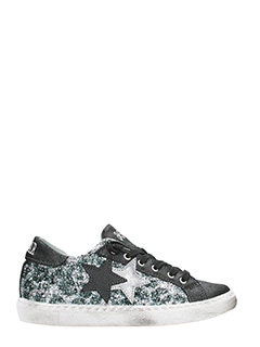 Two Star-black and grey glitter low sneakers