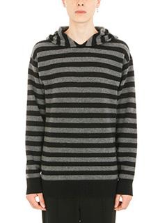 Alexander Wang-Striped black grey wool hoodie