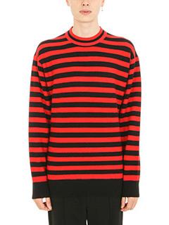 Alexander Wang-Stripeded wool black red pullover