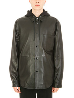 Alexander Wang-leather Rugby black polo shirt