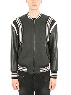 Neil Barrett-Striped Trim bomber black/grey viscose and leather