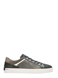 Crime-grey leather sneakers