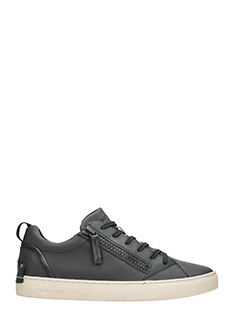 Crime-black leather sneakers