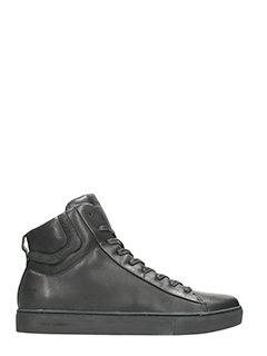 Crime-High black leather sneakers