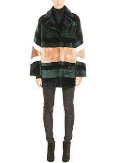 Drome-Cappotto pelliccia reversibile in agnello e pelle verde beige