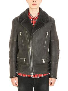 Neil Barrett-black leather Aviator jacket