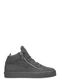 Giuseppe Zanotti-Sneakers in pelle e lana grigia