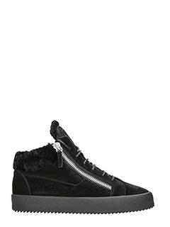 Giuseppe Zanotti-Sneakers in shearling e camoscio nero