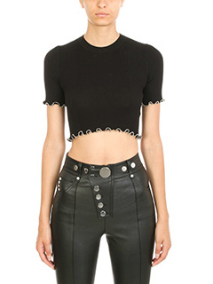 Alexander Wang-Top Ribbed Cropped in cotone nero