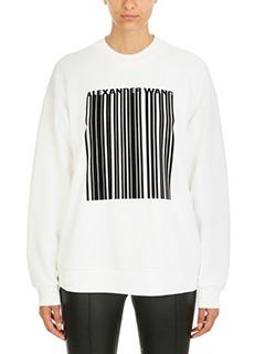 Alexander Wang-Felpa Oversize Bar Barcode in cotone bianco