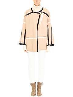 Chloé-Cappotto in lana beige nera