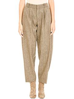 Chloé-Pantaloni in lana marrone