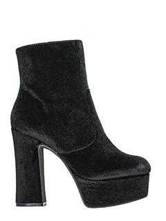 Jeffrey Campbell-Tronchetti De-Facto Block Heel Platform Bootie in velluto nero