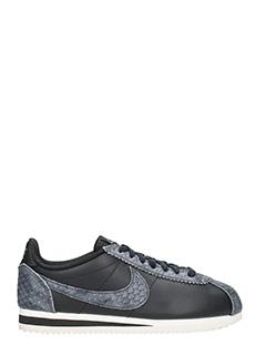 Nike-Sneakers Classic Cortez Premium in pelle nera e grigia