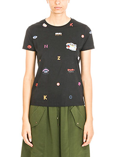 Kenzo-T-shirt Multi Icons in cotone nero