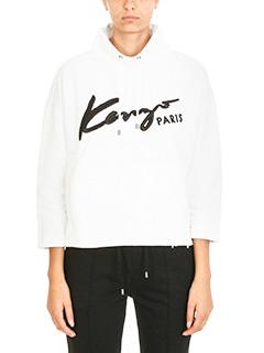 Kenzo-Felpa Signature in cotone bianco