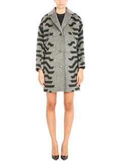 Kenzo-Cappotto Cocoon in lana e cashmere grigio nero