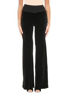 Rick Owens-Pantalone Bias in velluto nero  vita alta