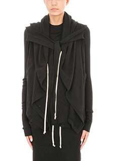 Rick Owens DRKSHDW-Felpa Cropped Hooded in cotone nero