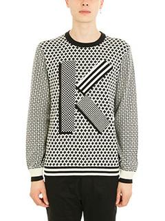 Kenzo-Fair Isle black/white wool jumper