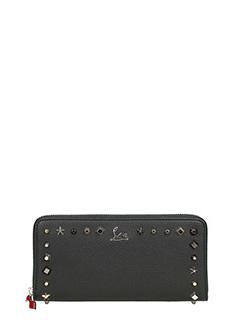 Christian Louboutin-Portafoglio Panettone Zipped Continental Wallet in pelle nera