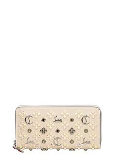 Christian Louboutin-Portafoglio Panettone Zipped Continental Wallet in pelle avorio
