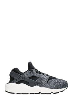 Nike-Sneakers Huarache Run in pelle nera e grigia