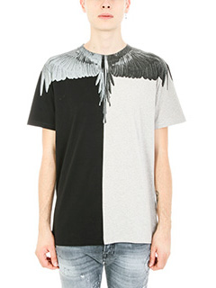 Marcelo Burlon-T-shirt Asher in cotone grigio/nero