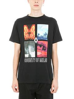 Marcelo Burlon-T-shirt Diuca in cotone nero