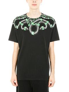 Marcelo Burlon-T-shirt Snake in cotone nero