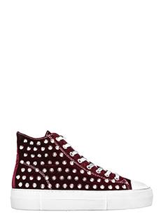 Gienchi-Sneakers Jean Michel Hi in velluto bordeaux