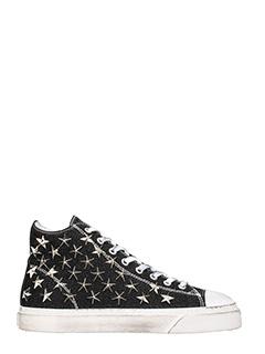 Gienchi-Sneakers Jean Michel Hi in tessuto glitter nero