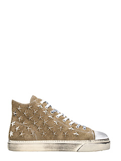 Gienchi-Sneakers Jean Michel Hi in camoscio beige