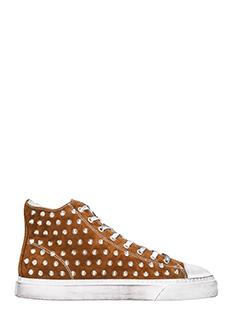 Gienchi-Sneakers Jean Michel Hi in camoscio cuoio