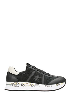 Premiata-Sneakers Conny in pelle e camoscio nero