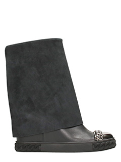 Casadei-Sneakers Wedge in pelle e camoscio nero