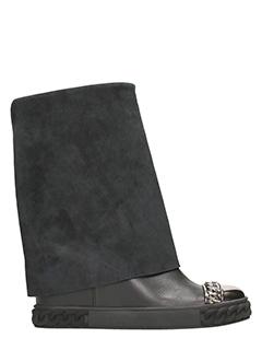 Casadei-Sneakers Wedge in pelle e camoscio nero