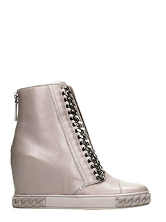 Casadei-Sneakers Wedge in pelle taupe