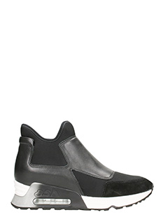 Ash-Sneakers Lazer Mid Top in pelle e neoprene nero