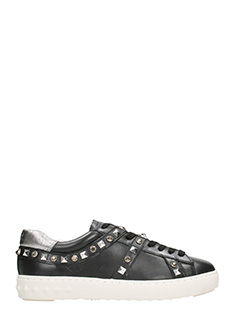 Ash-Sneakers Play in pelle nera argento