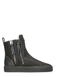 Giuseppe Zanotti-Sneakers alte in pelle nera