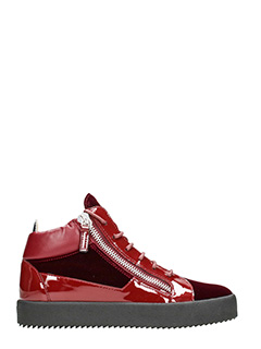 Giuseppe Zanotti-Sneakers Kriss mid top in vernice e velluto bordeaux