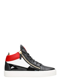 Giuseppe Zanotti-Sneakers Jimbo Mid Top in pelle e vernice nera rossa bianca
