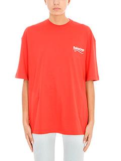 Balenciaga-T-Shirt Logo Print in cotone rosso