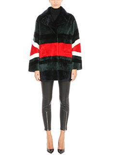 Drome-Cappotto Pelliccia reversibile in agnello e pelle verde rosso nero