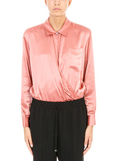 T by Alexander Wang-Silk charmeuse long sleeve wrap front bodysuit