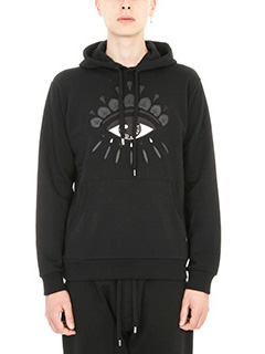 Kenzo-Felpa Eye hoodie in cotone nero