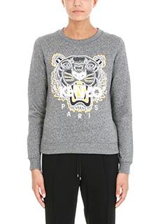 Kenzo-Felpa Logpo Tiger in cotone grigio